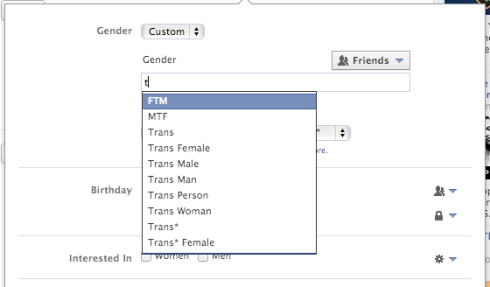 Facebook new gender options